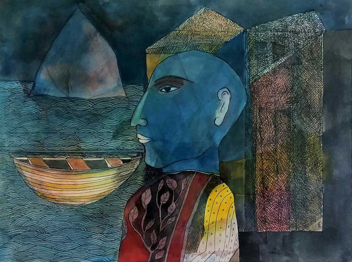 Badri Narayan Scholar from an Eastern Land Mixed Media on Paper 12.5×16.5 inches