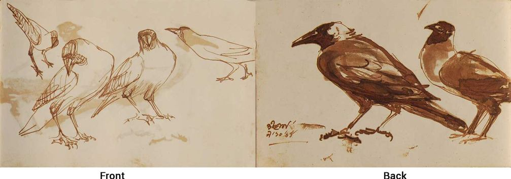 Dipen Bose Crow Series Watercolour on Paper Brush on Paper 7.5×5 inches 1961-64 (Recto & Verso)