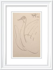 Jatin Das 002 | Swan | Charcoal on Paper 5x8 inches 2016 | INR 49000/-