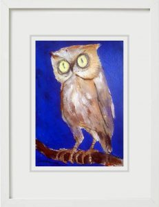 Shuvaprasanna Bhattacharya Owl Acrylic & Charcoal on Paper 8x4 inches