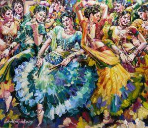 Subrata Gangopadhyay Daandia Raas Acrylic on Canvas 36x42 inches 2021