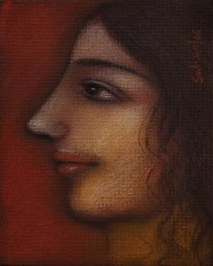 Suhas Roy | Radha | Mixed Media on Board | 6x4.8 inches 2006 | INR 75000/-