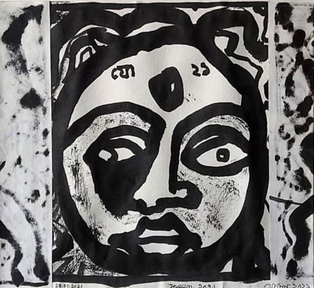 Jogen Chowdhury Woman Ink & Brush on Paper 10.5×11.5 inches 2021