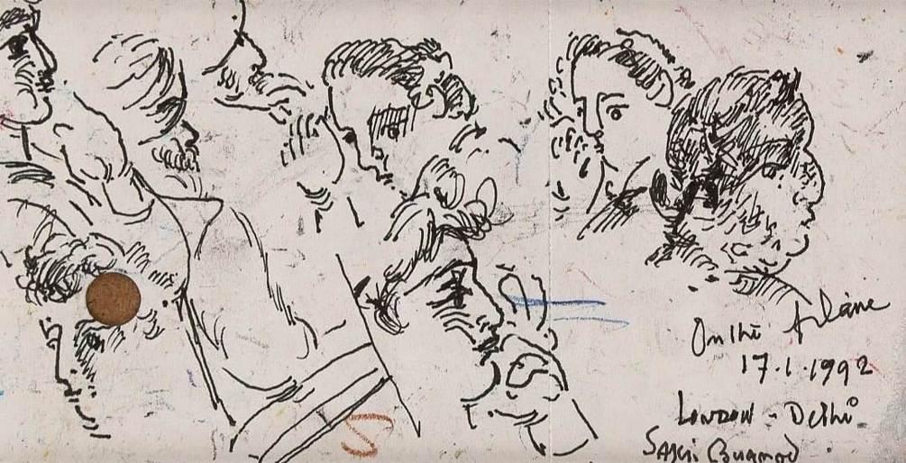Sakti Burman Pen on Paper 3×6 inches 1992