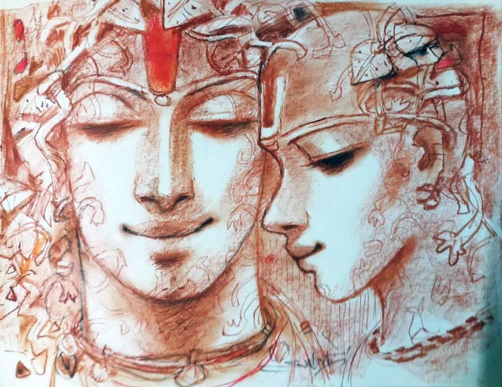 Subrata Das Nirvana Acrylic on Canvas 36×30 inches
