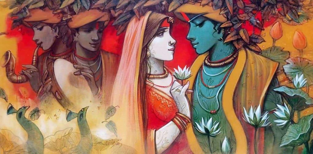Subrata Das Krishna Acrylic on Canvas 48×24 inches 2020